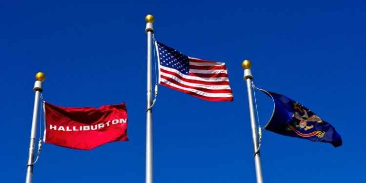 Flags flying at a Halliburton