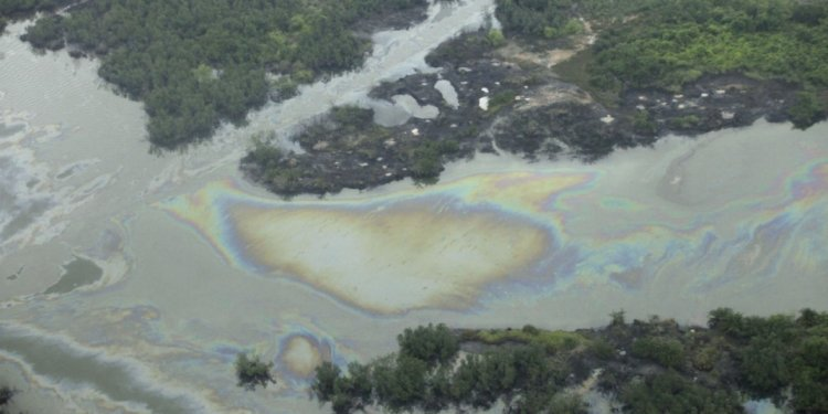 A large oil spill near