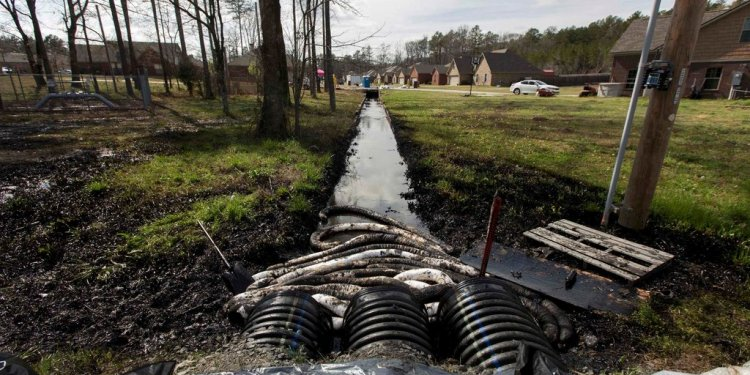 Crude oil in a ditch in