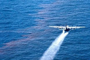 C-130 Hercules falling an oil-dispersant