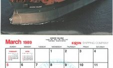 Calendar showing March 1989 and picture of Exxon Valdez ship.