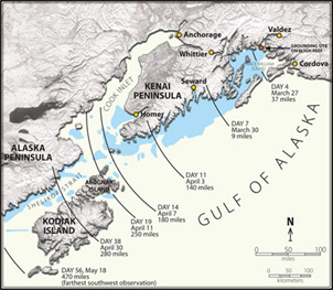 Map of 1989 Exxon Valdez Oil Spill