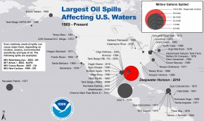 Map showing area and relative size of largest oil spills affecting U.S. oceans since 1969.