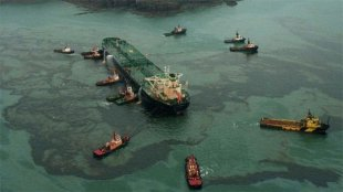 The devastating water Empress oil spill in Milford Haven in 1996